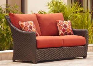Highland Patio Loveseat in Cinnabar Cushions and Empire Chili Throw Pillows - Seat Conversation Leather Sofa