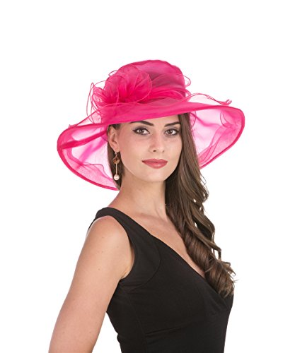 Haojing Kentucky Derby Hat Fascinator Party Church Hat for Women (HJH-Rose Pink Flower) ()