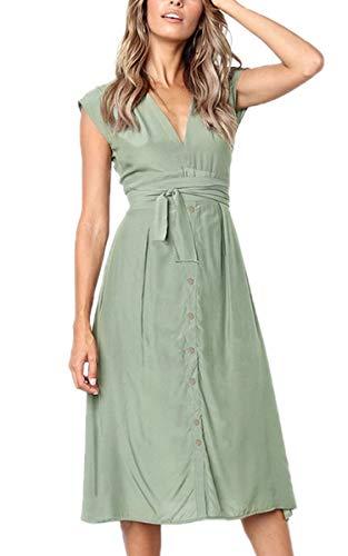 Aromelle Womens Summer Dresses Solid Button Down V Neck Sleeveless Bow Tie Waist A Line Midi Skater Dress Light Green XL