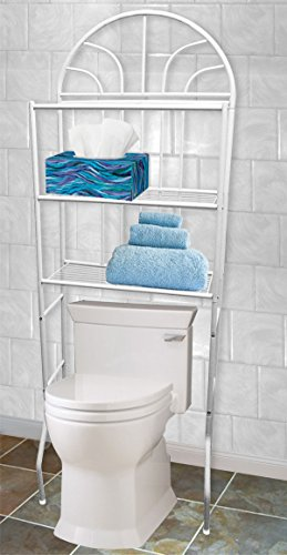 Free Standing Over the Toilet White 3 Shelf Bathroom Space Saver Provide More Space To Your Bathroom - Beyond Modern Brushed Nickel Bowl