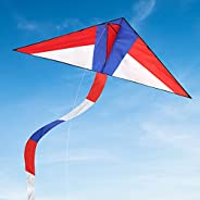TECBOSS Large Delta Kite for Kids & Adults, Super Easy to Fly Kite with 1 Ribbon and 328ft Kite String, Be