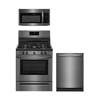 """Frigidaire 3 piezas Negro Acero inoxidable Cocina Paquete con ffgf3054td 30 """"gas gama,"""