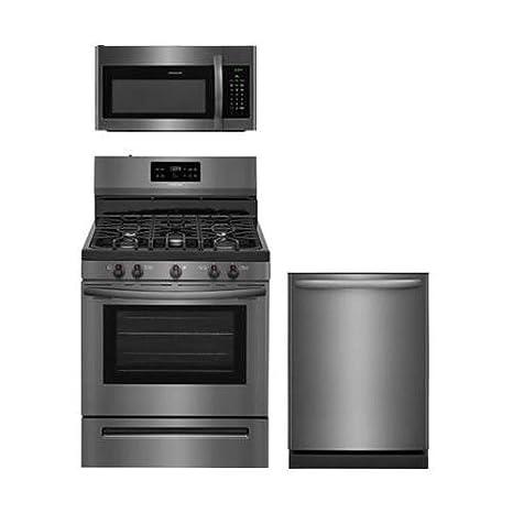 Amazon.com: Frigidaire 3-Piece Black Stainless Steel Kitchen Package ...