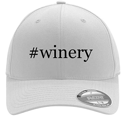 #Winery - Adult Men's Hashtag Flexfit Baseball Hat Cap, White, Large/X-Large ()