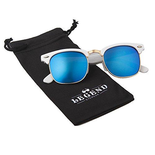 Classic Clubmaster Retro Sunglasses (White, Blue - White Clubmaster