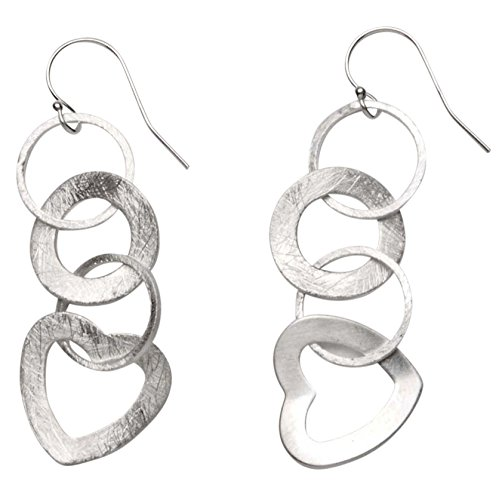 Takobia Women's Scratched Silver Plated Multi Circle & Heart Dangles - .925 Sterling Silver French Wire Earrings ()