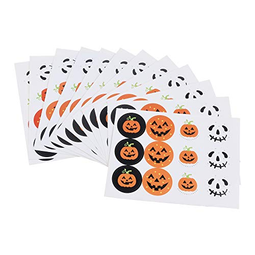 (Cosmos Round Pumpkin Head Halloween Decoration Sticker, Halloween Candy Cookie Box Seal Sticker, 144 Stickers,12)