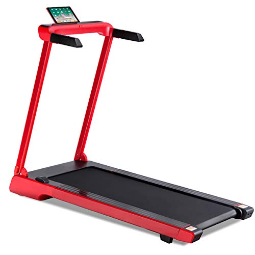 Goplus 2.25 HP Folding Treadmill Electric Cardio Fitness Jogging Running Machine Portable Motorized Power Slim Treadmill with Sports App and LED Display (Red)