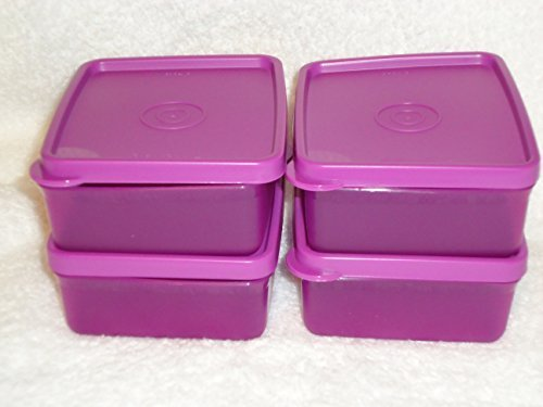 Tupperware Square Away Mini Snack Set 4pc in Purple