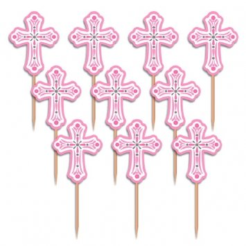 First Communion Cupcake (Oasis First Communion, Confirmation or Baptism Cross Pink Cupcake Picks Set of)