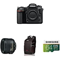 Nikon D500 DX-Format Digital SLR Portrait and Prime Photography Lens Kit w/ AmazonBasics Accessories