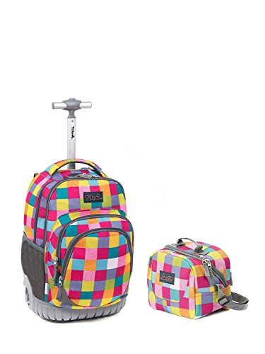 Tilami New Antifouling Design 18 Inch Wheeled Rolling Backpack Luggage & Lunch Bag(Red Check1)