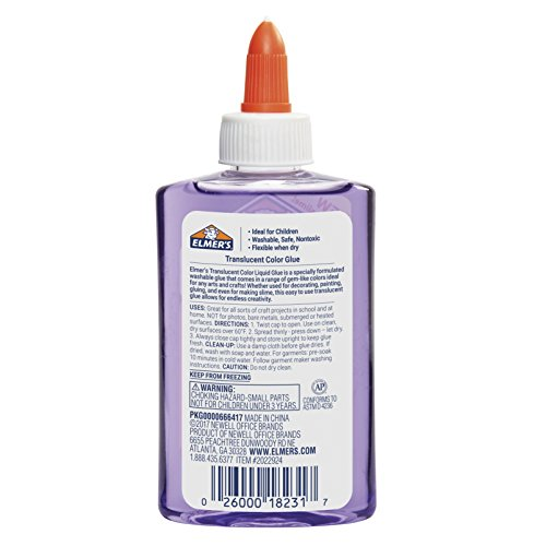 Elmer's Washable Translucent Color Glue, Purple, 5 Ounces, Great for Making Slime Photo #3