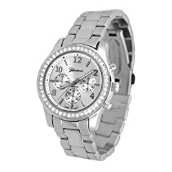 Geneva Chronograph Look Watch with Crystals SilverTone Metal Link-SILMTL