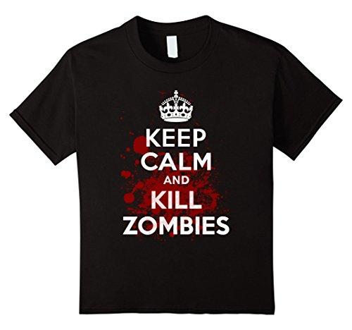 Kids Keep Calm and Kill Zombies T-Shirt 12 Black