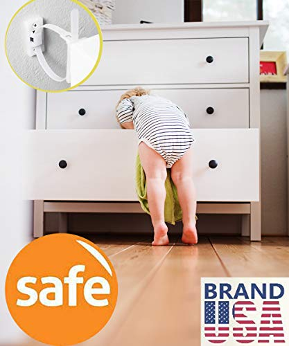 Furniture Straps Baby Proofing Anti Tip Furniture Anchors Kit Cabinet Wall Anchors Protect Toddler and Pet from Falling Furniture Adjustable Child Safety Straps Earthquake Resistant (10 Pack)