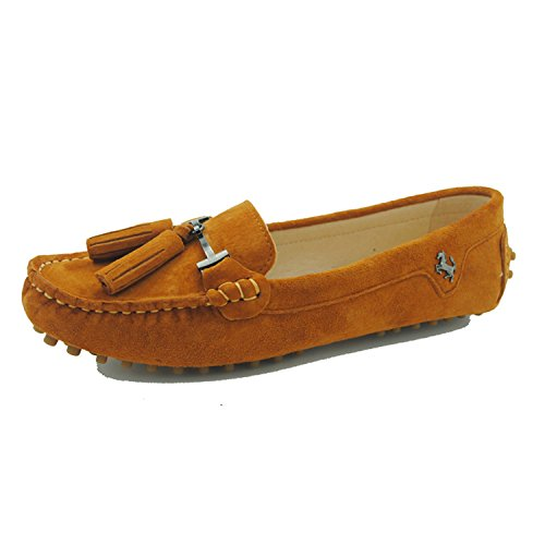 Minishion Dames Casual Kwastje Suède Leren Penny Loafers Mocassins Instappers Casual Suede-oranje