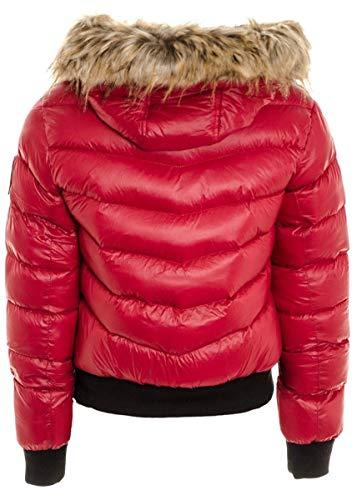 Janisramone Red Medium Manches Femme Blouson Noir Longues rY6vqrUA