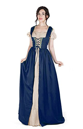 Renaissance Medieval Irish Costume Over Dress & Boho Chemise Set (L/XL, Indigo/Sand)