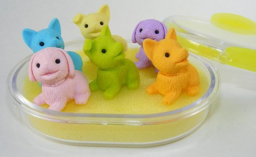 Puppy Dog Eraser Set in Oval Case, 6 Piece. IWAKO. BCM38463 by PencilThings