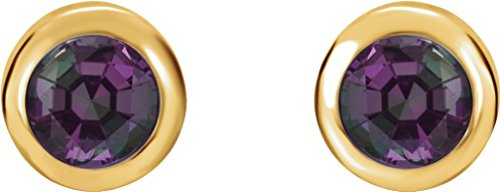 Chatham Created Alexandrite Stud Earrings, 14k Yellow Gold by The Men's Jewelry Store (Unisex Jewelry)