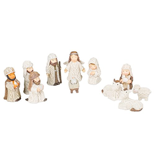 (Transpac Imports, Inc. Cable Knit Textured Holy Family, Three Kings and Angel Resin Christmas Nativity Figurine Set of 12)