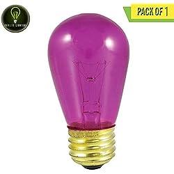 Perlite Lighting 11S14TF 11-Watt S14 Sign Transparent Fuchsia Medium E26 Base 130-Volt Light Bulb One Pack