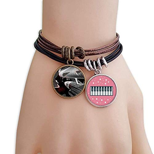 DIYthinker Urban Life Building City Bracelet Rope Wristband Piano Key Music Charm
