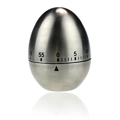 Mikey Store Egg Shaped Mechanical Drive Count-down Practical Kitchen Timer-Silver Cooking Timer Loud Alarm Timer Stainless Steel 60-Minute Kitchen Timer