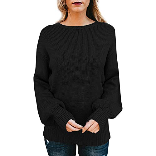 NREALY Sweaters Women's Knitted Deep Long Sleeve Wrap Front Loose Sweater Pullover Jumper(S, Black) ()