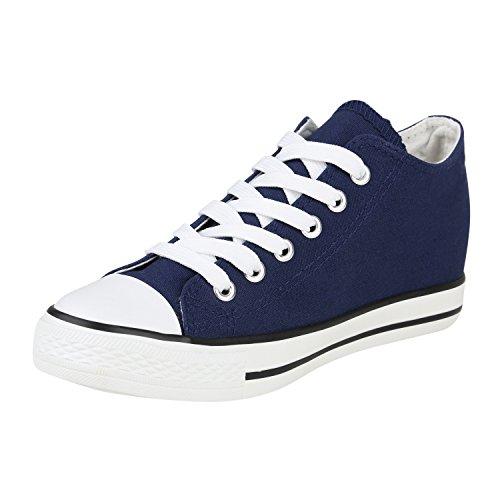 Stiefelparadies Damen Sneakers Glitzer Metallic Sneaker Wedges Slip Ons Zipper Prints Lack Schnürer Turnschuhe Keilabsatz Schuhe Leder-Optik Flandell Blau Zipper