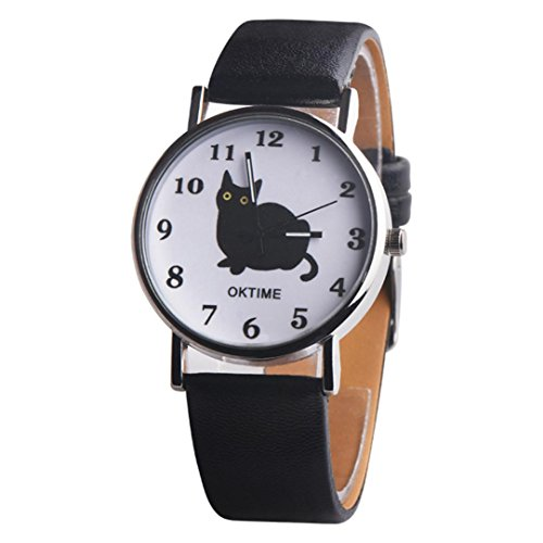 vmree Women Girls Fashion Charm Internet Celebrity Black Cat Quartz Wrist Watch Leather Band Analog Dress Watch Ideal Gift (Black) from vmree