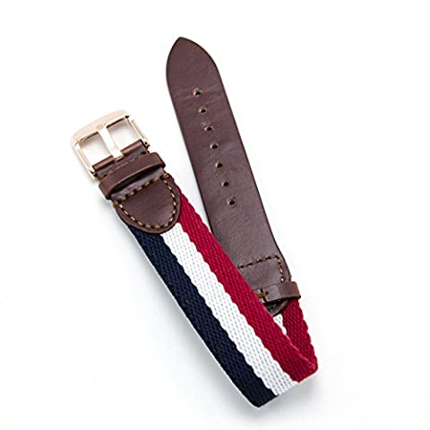 CIVO Military Swiss Army Style Leather and Nylon Watch Band Strap Replacement Nato Zulu G10 bands 18mm 20mm Rose Golden Stainless Steel Buckle (Navy/Ivory/Crimson, 18mm) - Omega Cinturino In Gomma Blu