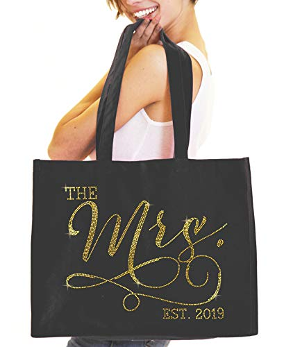 Giant Cotton Canvas Bride Tote Bag - The Mrs. EST 2019 Black Gold Rhinestud Totes for the Bride, Bride Shower Tote(Mod 2019 GLD) BLK (Best Beach Bag 2019)