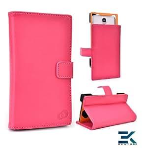[Matrix] PU Leather Universal Book Folio Phone Cover fits LG Intuition Case - HOT PINK. Bonus Ekatomi Screen Cleaner