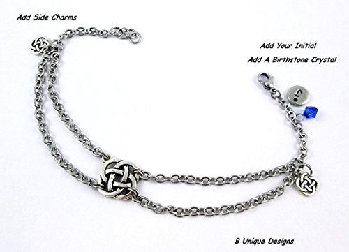 Celtic Knot Silver Charms Anklet Stainless Steel Chain Mail Personalized Jewelry Add Initial or (Initials Stainless Steel Bracelet)