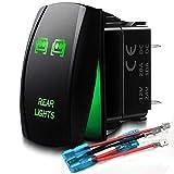 WEISIJI Rocker Switch Laser LED Light Bar Rocker Switch ON-Off LED Light Waterproof 12 Volt Switch 20A (Green)