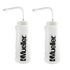 Mueller Quart Bottle w/Straw (New Design), Natural Color w/ Black Letters (2-Pack)