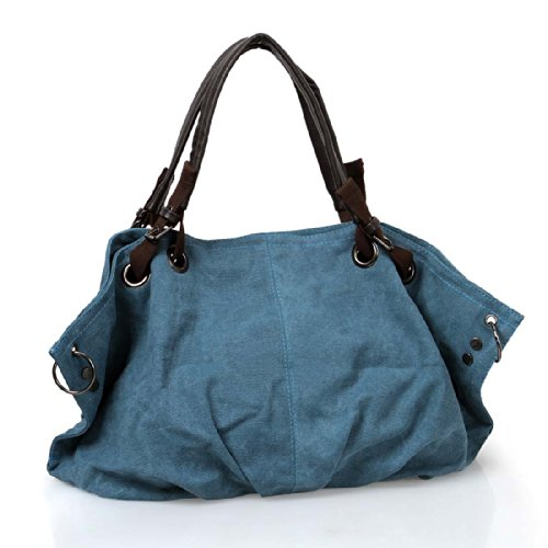 BMC Steel Blue Denim Multi Zipper Pocket Oversized Lined Fashion Handbag Satchel Shopper Tote
