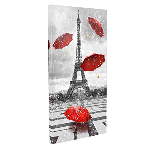 DongLin Art- Paris Eiffel Tower Art Painting, Red Umbrellas on the rain, Modern Giclee Canvas Prints, Framed Wall Art for Home and Office decor. ( 24X43 inch,60110 cm) . ()