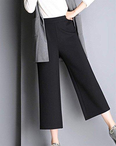 Due Ericcay Larghi Tempo Libero Donna Nero Tasche 8 Relaxedchic Accogliente 7 Pantaloni Pantaloni Monocromo Pantaloni Pantalone Pantaloni Estivi Culotte Elegante Dei rArqw5a