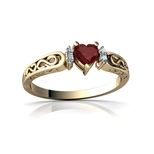 14kt Yellow Gold Ruby and Diamond 4mm Heart filligree Scroll Ring - Size 7