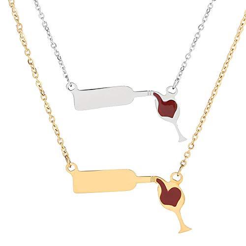 Enamel Heart Necklace - JDXN Stainless Steel Love Wine Gold Silver Enamel Heart Pendant Chain Necklace Jewelry Girl 'S Women's (2pcs/Set)