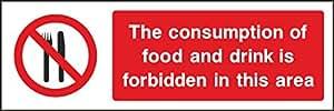 IVA Factura incluye 150mm x alimentos y bebidas–Salud y Seguridad de vinilo autoadhesivo (señal).