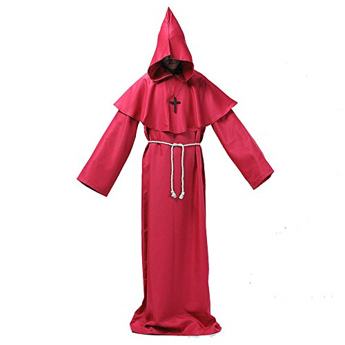 Fat Lady Devil Costume (Halloween Hombres Adult Priest Costume Friar Medieval Hooded Monk Priest Robe Tunic (L, RED))