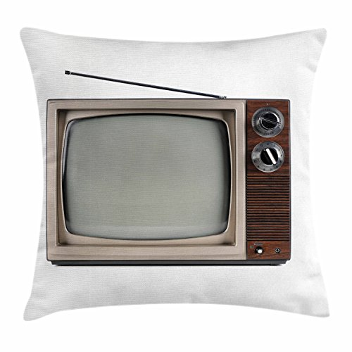1950's Hotel (1950s Throw Pillow Cushion Cover by Lunarable, Old Television with Antenna Broadcast Display Antique TV Historic Movie Screen, Decorative Square Accent Pillow Case, 36 X 36 Inches, Umber Taupe White)