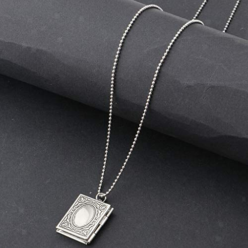 Elegant Engraved Brass Photo Lockets Necklace Charm Memorial Pendant Chain Necklace Jewelry Crafting Key Chain Bracelet Pendants Accessories Best| Color - Silver (Toggle Horseshoe Watch)