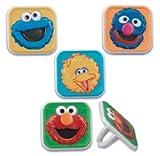 CakeDrake Sesame Street ELMO Cookie Monster Grover Big Bird 24 CUPCAKE Favor Topper RINGS