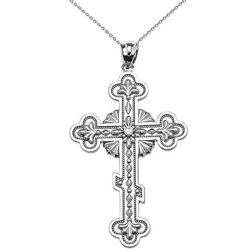 Collier Femme Pendentif 10 Ct Or Blanc Élégant L'Est Orthodoxe Diamant Croix (Livré avec une 45cm Chaîne)