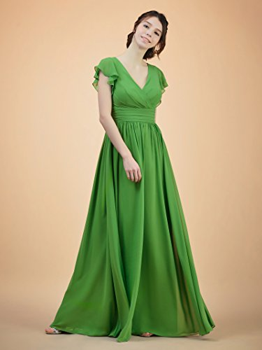 Alicepub Chiffon V Evening Ball Neck Emerald Maxi Dress Dress Bridesmaid Party Gown Long TwT1q